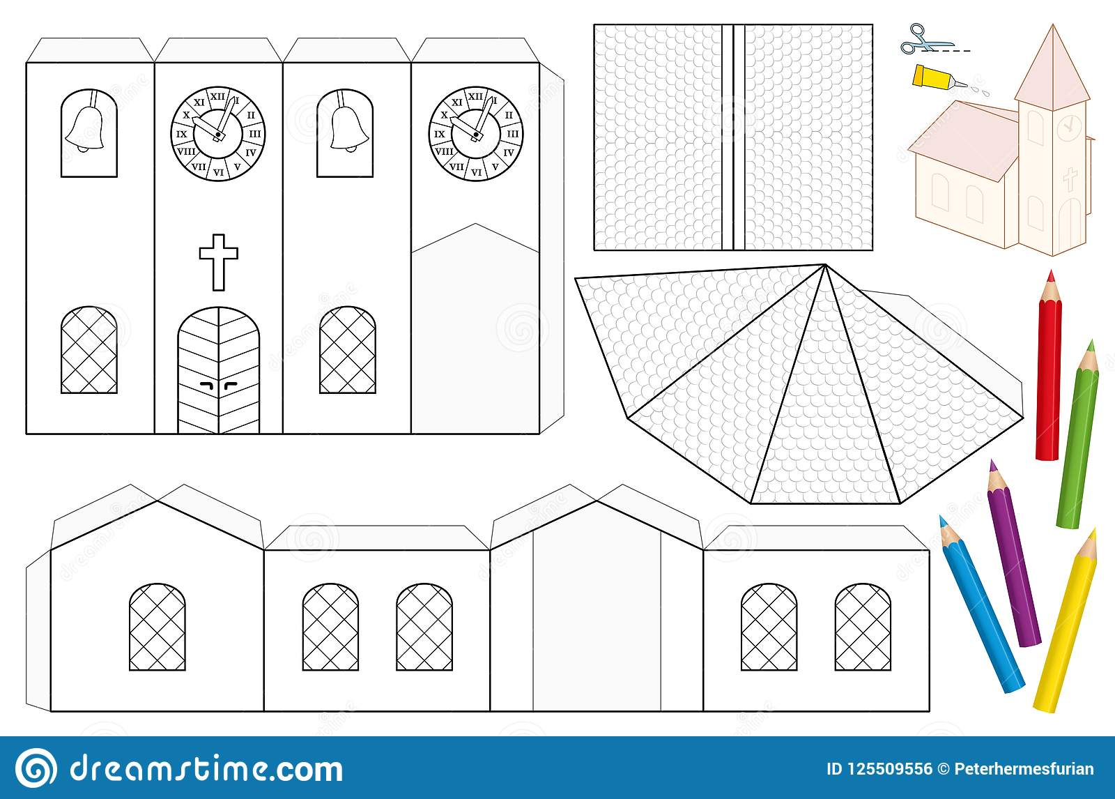 Church paper craft coloring template stock vector illustration of church paper craft coloring template maxwellsz