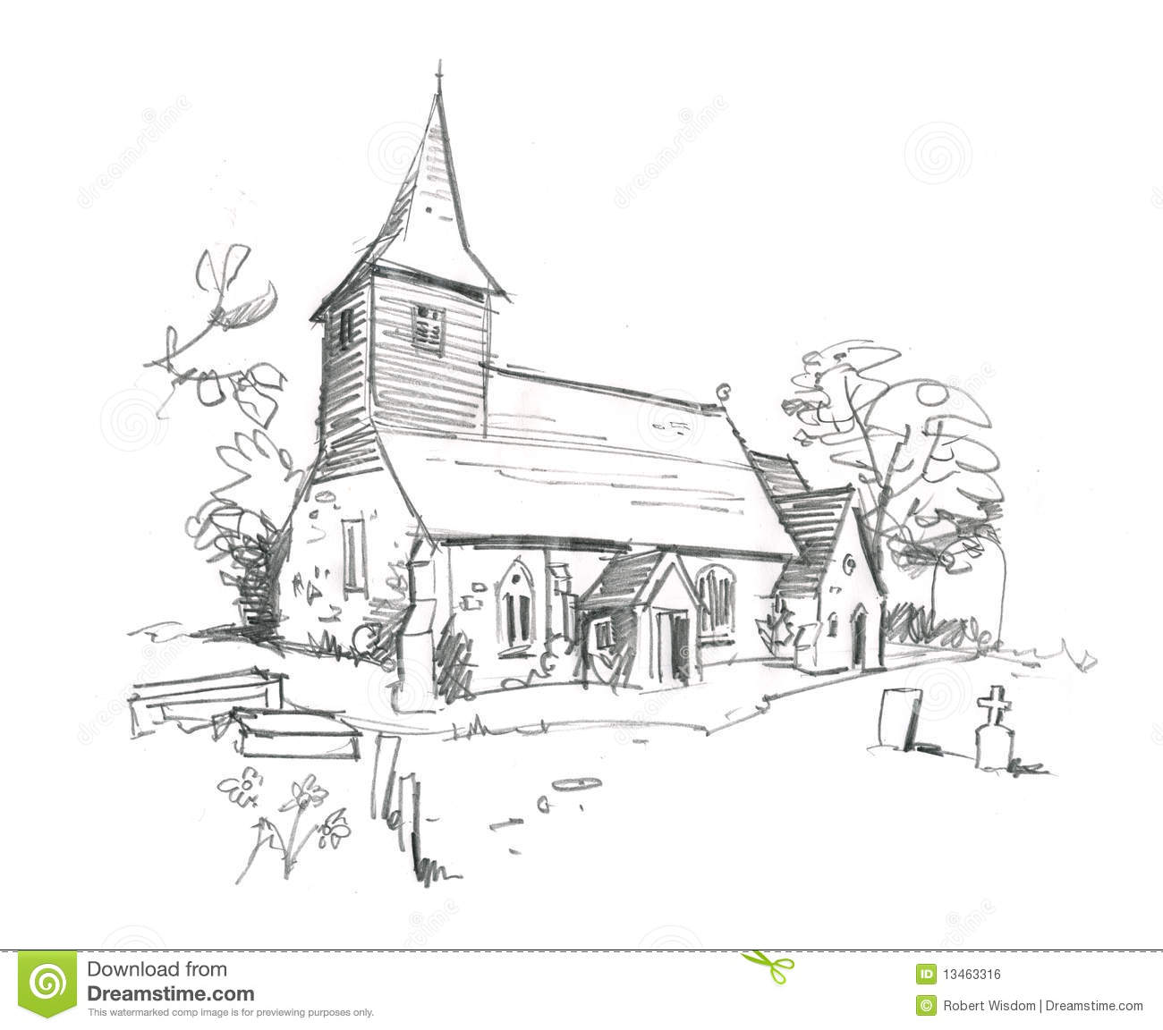 Pencil Sketch Of A Country Church Coloring Page