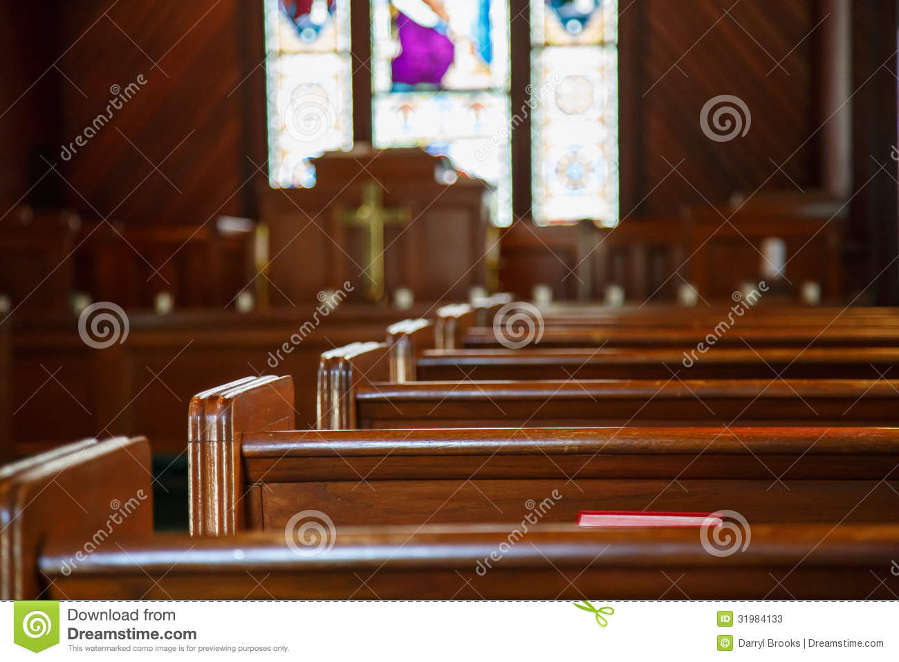 Church Pews With Stained Glass Beyond Pulpit Stock Image