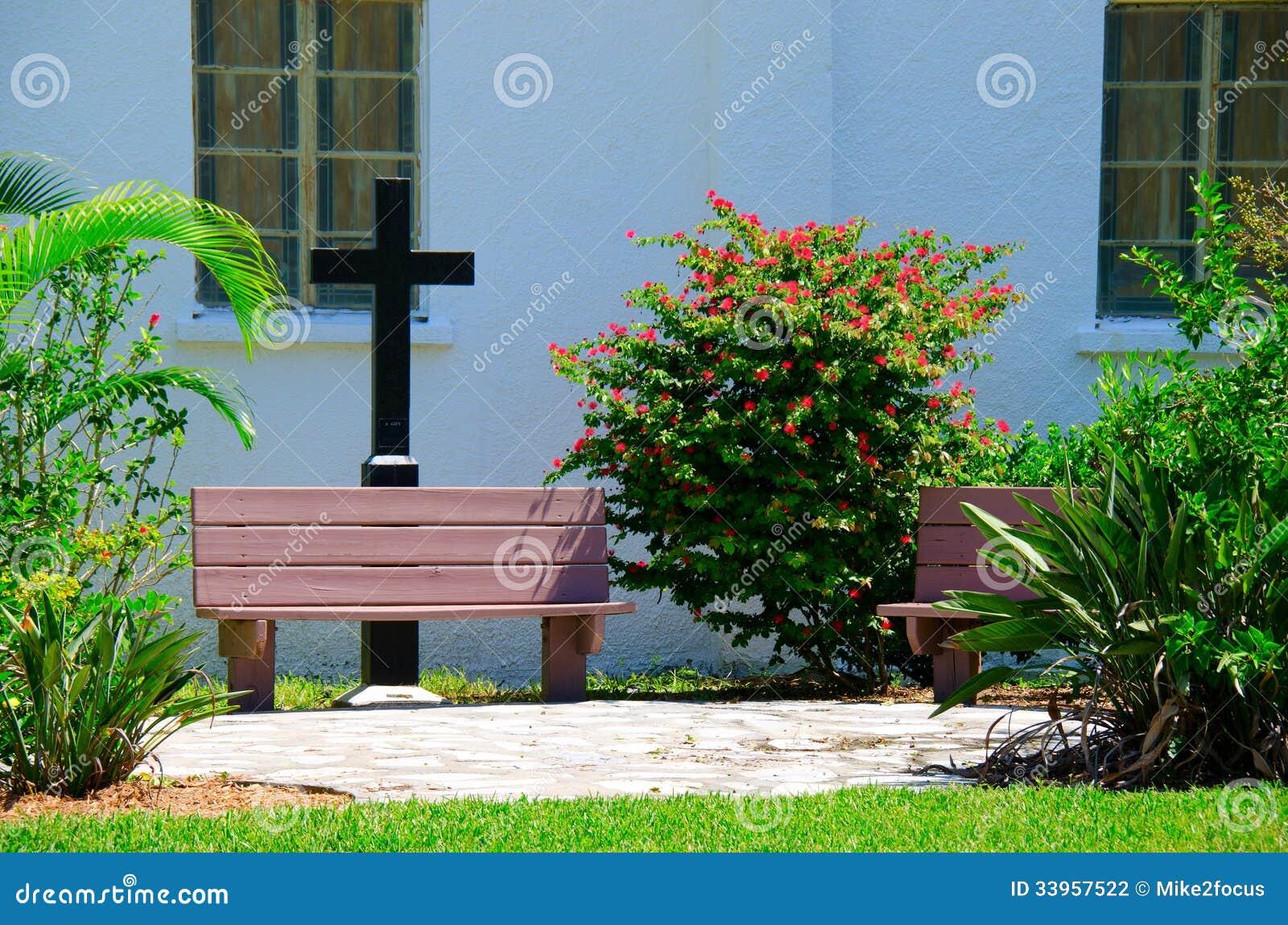 Church prayer garden with benches and cross stock photo for Prayer garden designs