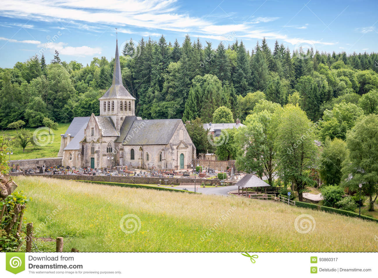 Church And Priory Of St Hymer Scenic Landscape The French Countryside Normandy France