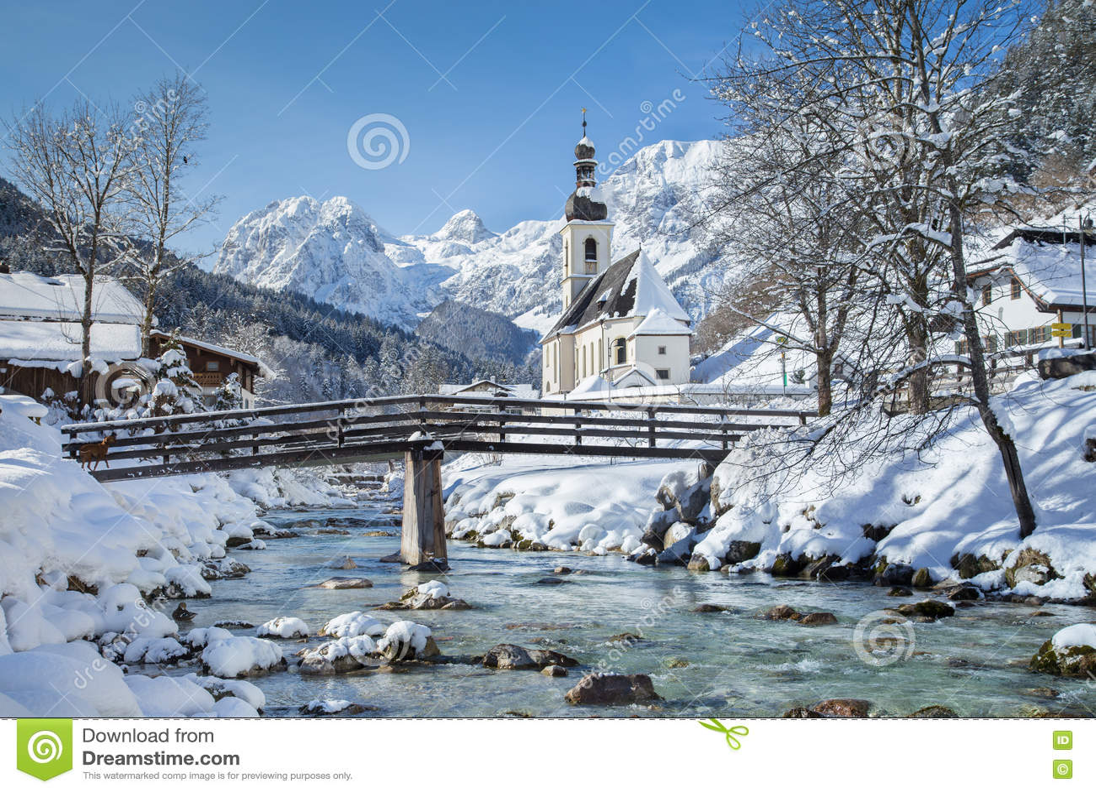 Church Of Ramsau In Winter Nationalpark Berchtesgadener