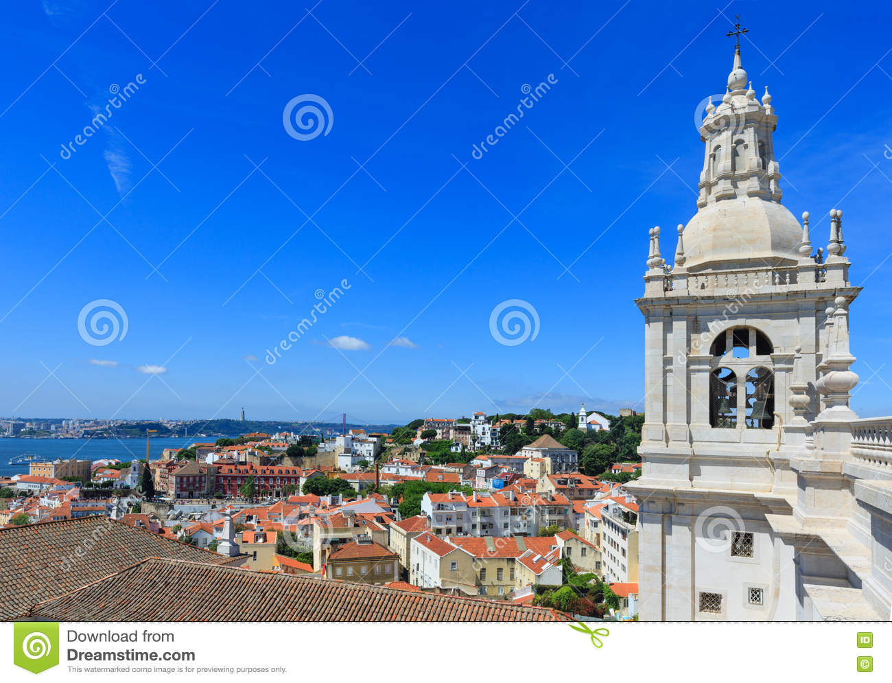 Church Roof And Lisbon Cityscape Portugal Stock Photo