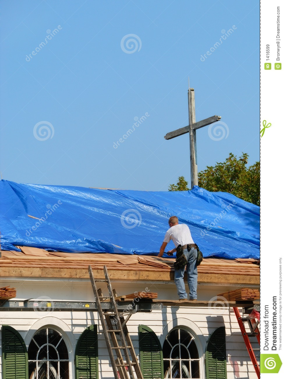 Church Roof Repair Stock Image Image Of Tall Male