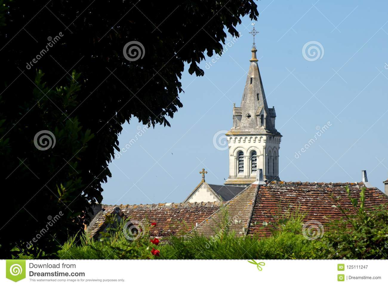 Church and rooftops in the Indre region of central France