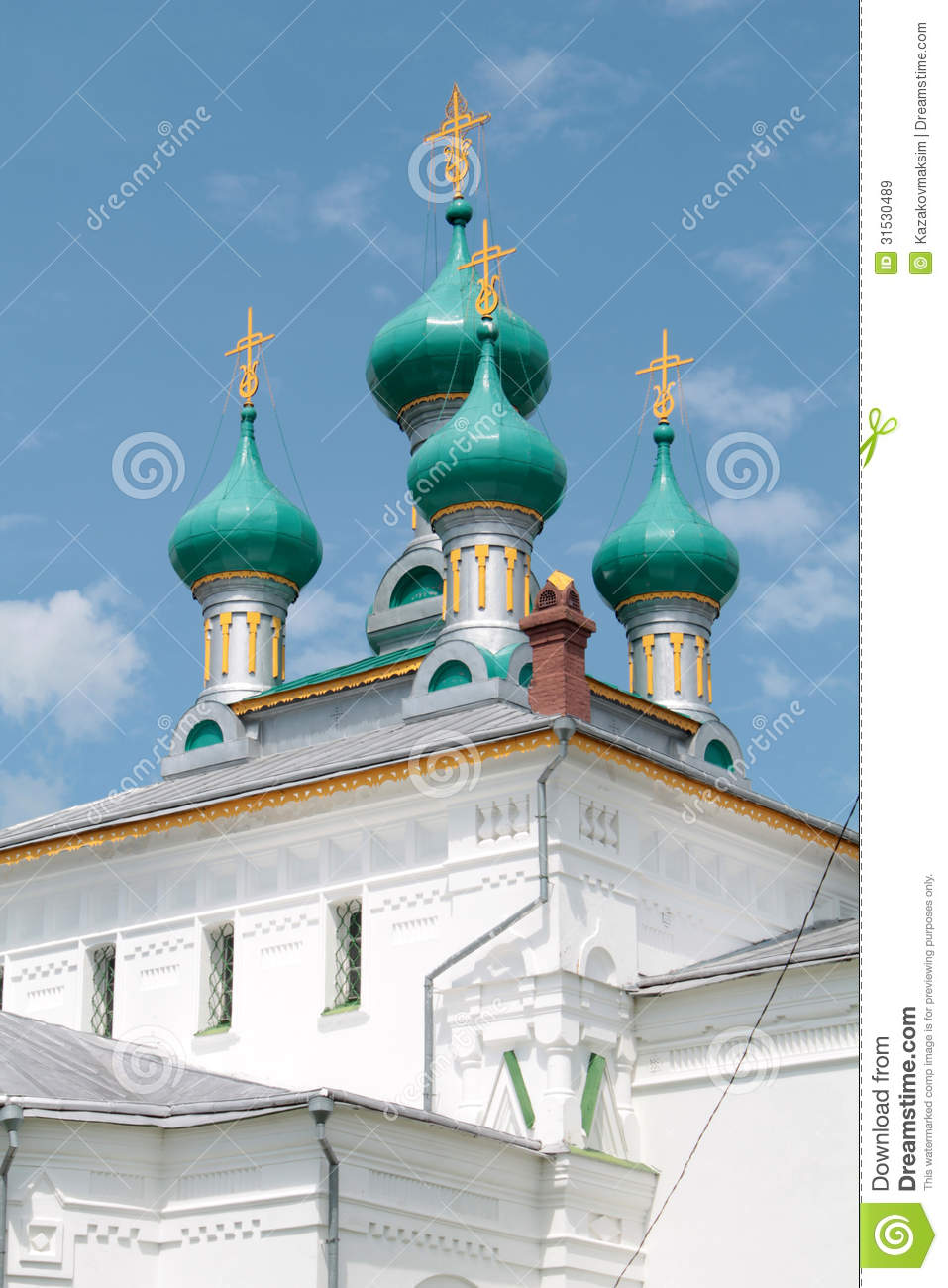 White church in russian revival architecture style