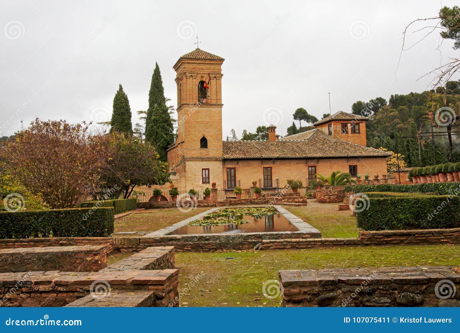 church of santa maria de alhambra granada spain on a cloudy day - Jardin De L Alhambra