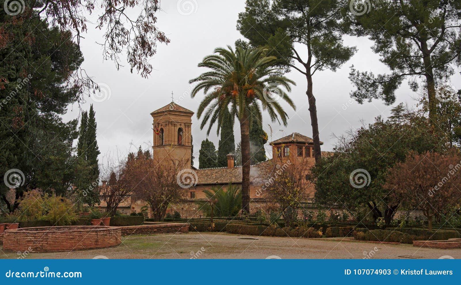 church of santa maria de alhambra in jardins del paraiso garden granada spain - Jardin De L Alhambra