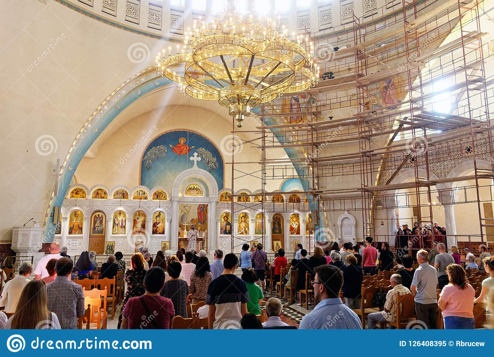 Church Service, Orthodox Resurrection Cathedral, Tirana, Albania