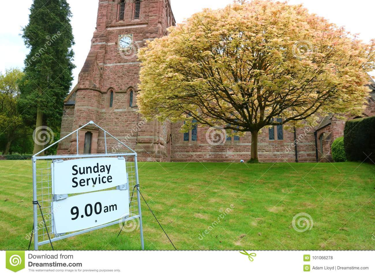 Church and service sign.