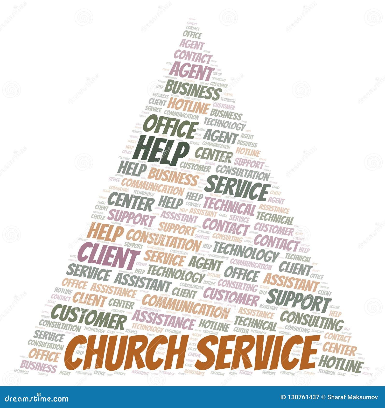 Church Service Word Cloud  Stock Illustration