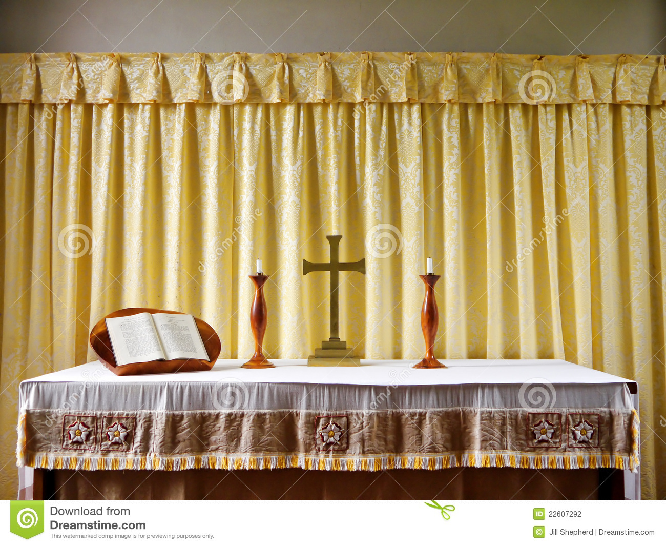 Church Simple Modern Altar With Candles Stock Photography