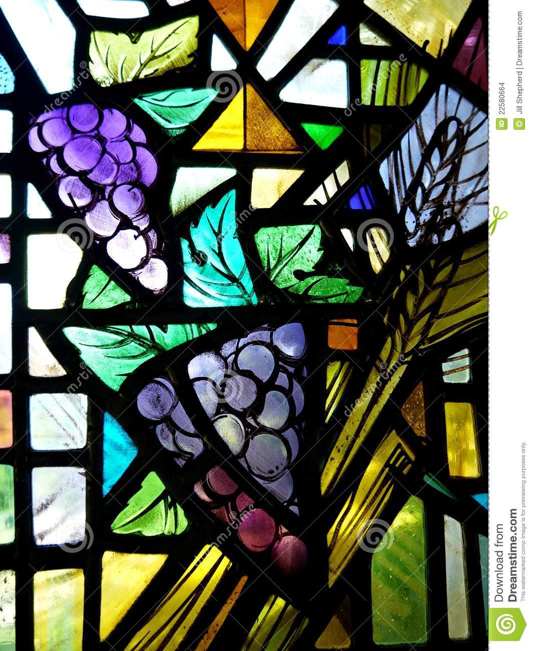 Church Stained Glass Window With Grapes Stock Photo