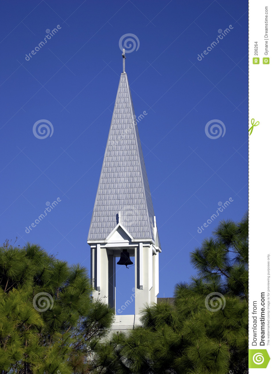 Church Steeple In Small Town Of Celebration Orlando