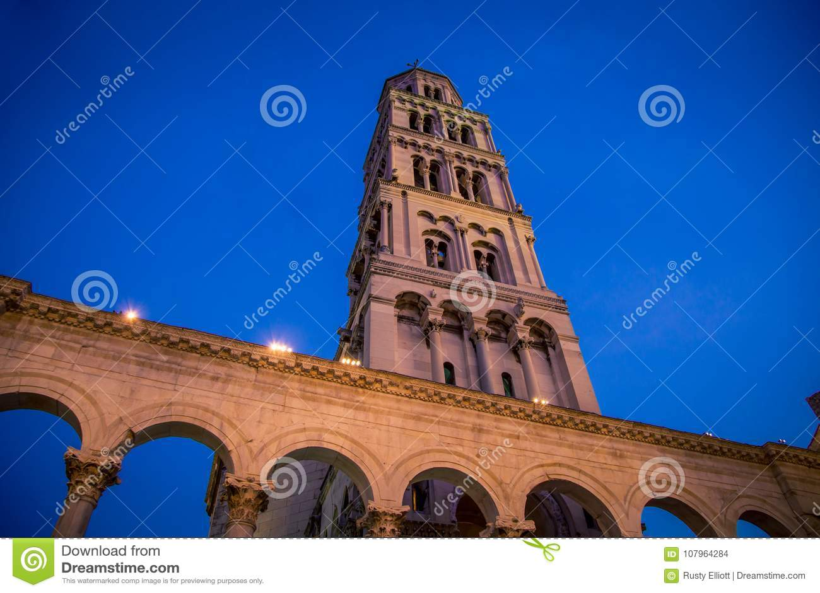 Church Tower Split Croatia Stock Photo  Image Of European