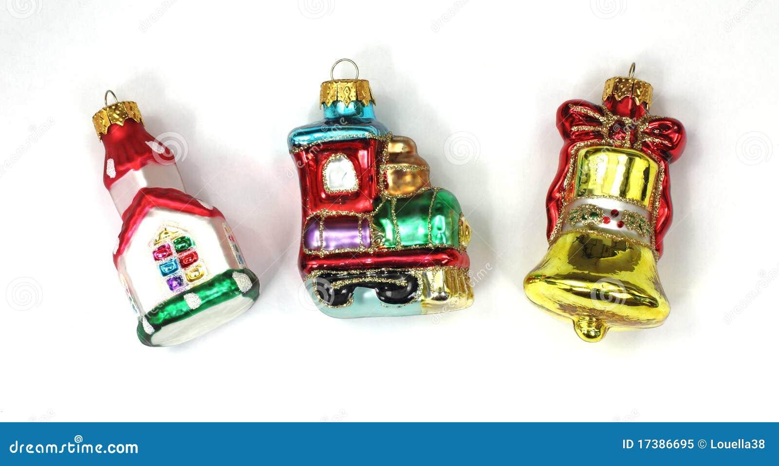 Miniature ornaments - Church Train Bell Miniature Ornaments
