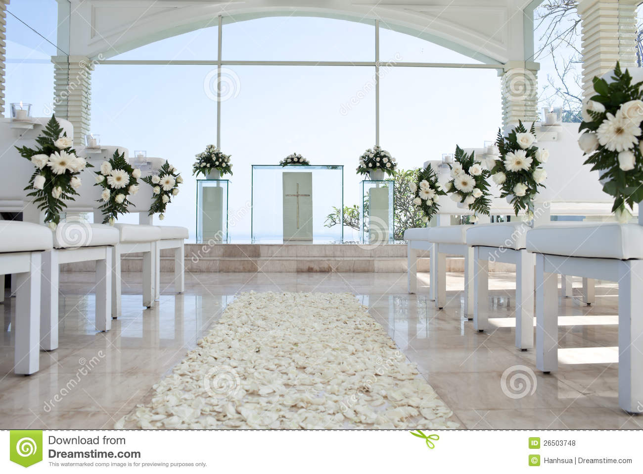 Church For Wedding With Petals Carpet Stock Photo Image