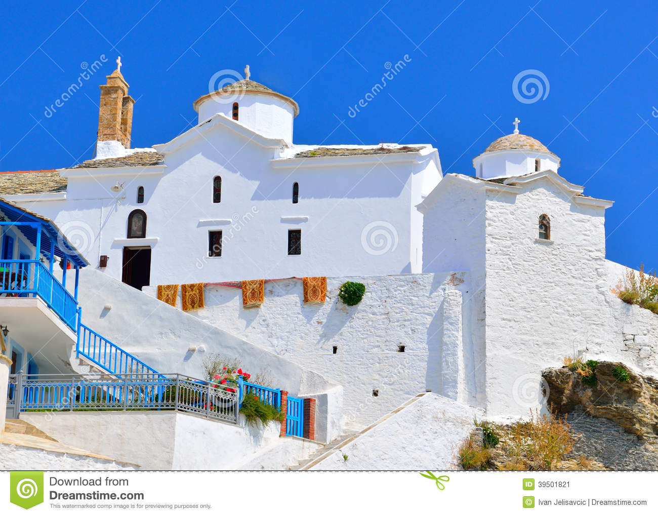 Church with white walls in Chora on Skopelos island, Greece