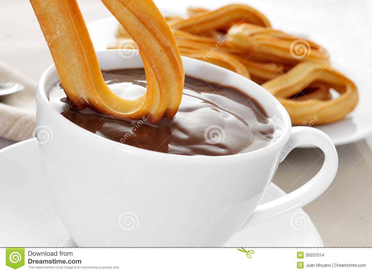 Churros Con Chocolate Typical Spanish Sweet Snack Stock Image ...