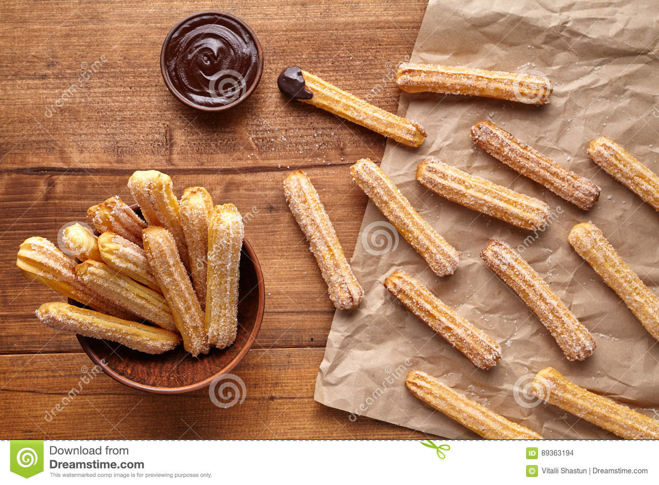 Churros Traditional Spain Culture Breakfast Or Lunch Sweet Dough
