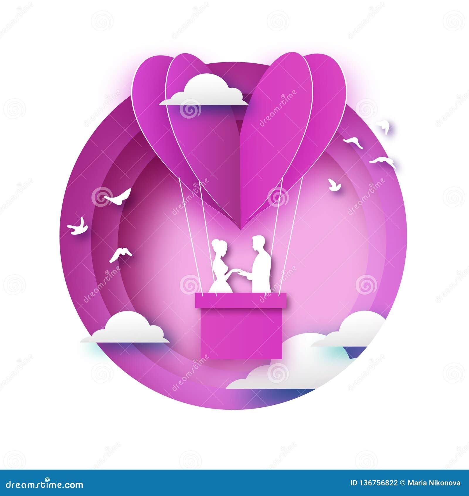 Chute dans l amour Amants romantiques blancs À air chaud de papier de rose - forme de coeur dans le style coupé de papier Jour de