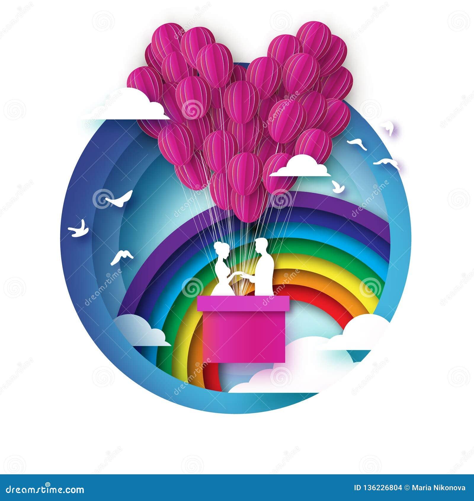 Chute dans l amour Amants romantiques blancs Ballon de papier rose - forme de coeur dans le style coupé de papier Jour de Valenti