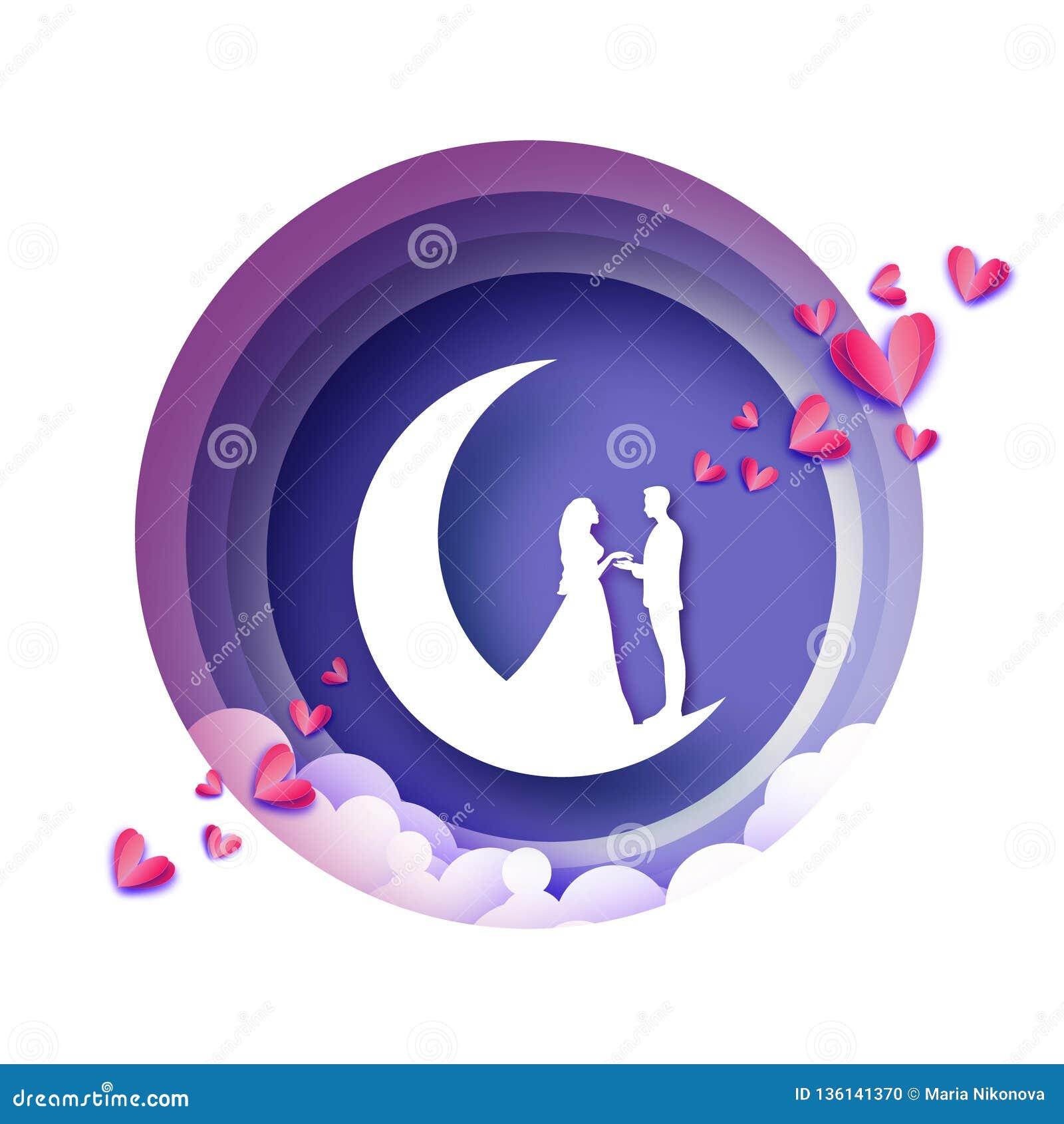 Chute dans l amour Croissant de lune Amants romantiques blancs Style rose de coupe de papier de coeurs Jour de Valentine heureux