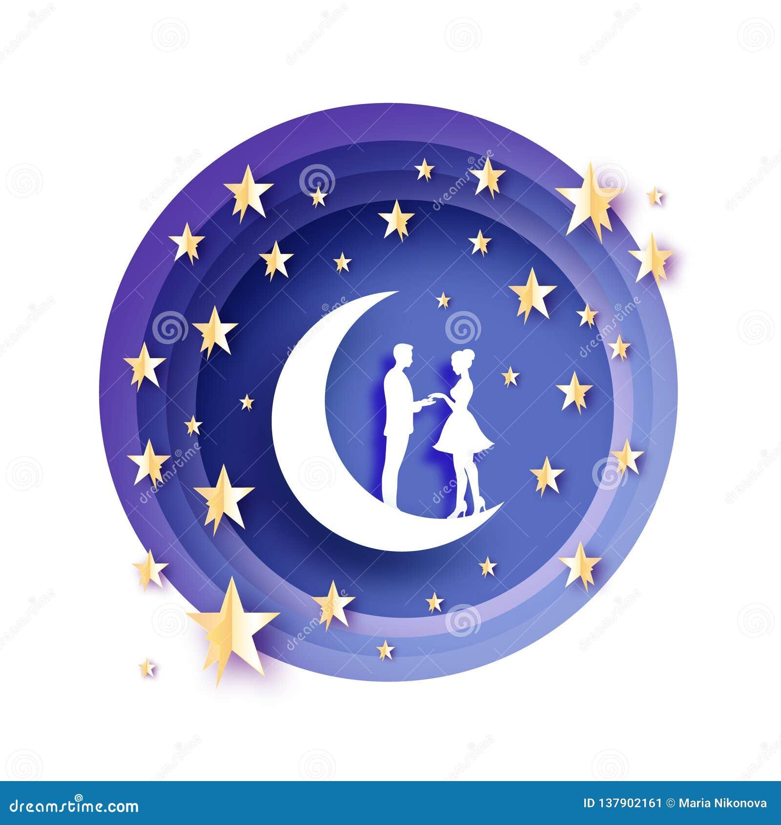 Chute dans l amour Lune Amants romantiques blancs Étoiles de papier en métal d or style de coupe de papier Jour de Valentine heur