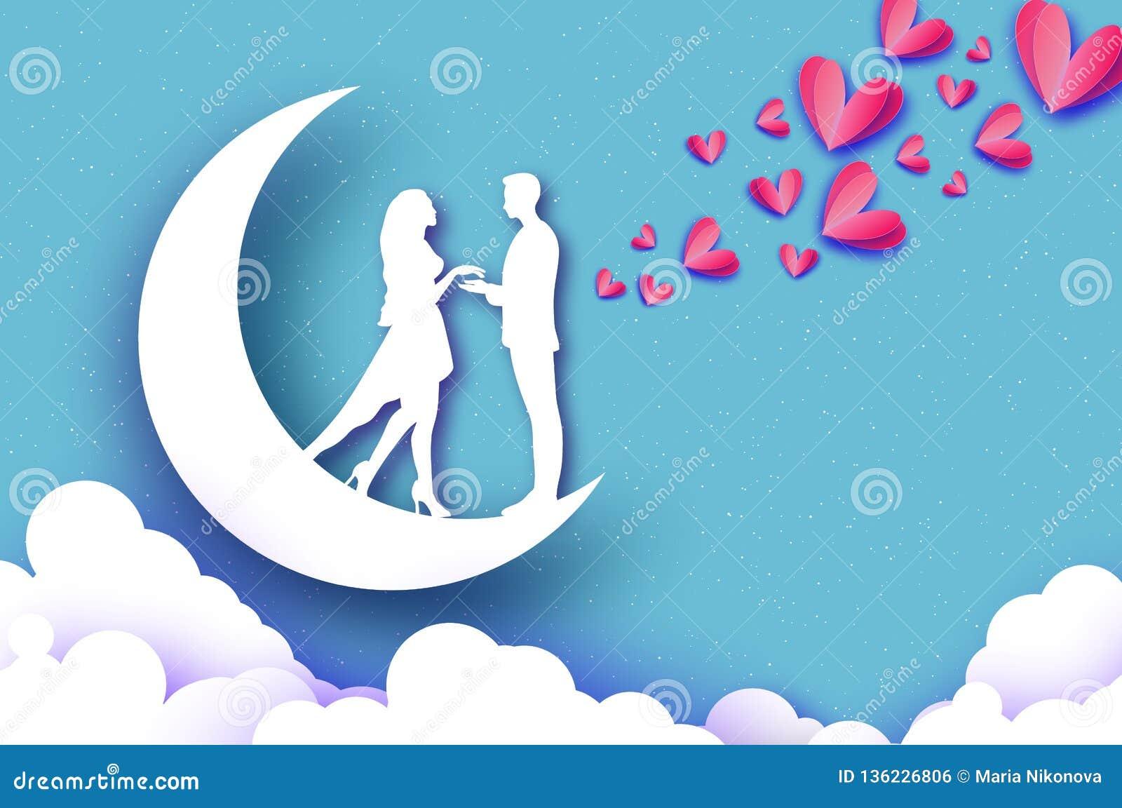 Chute dans l amour Lune Amants romantiques blancs Coeurs de papier roses style de coupe de papier Jour de Valentine heureux vacan