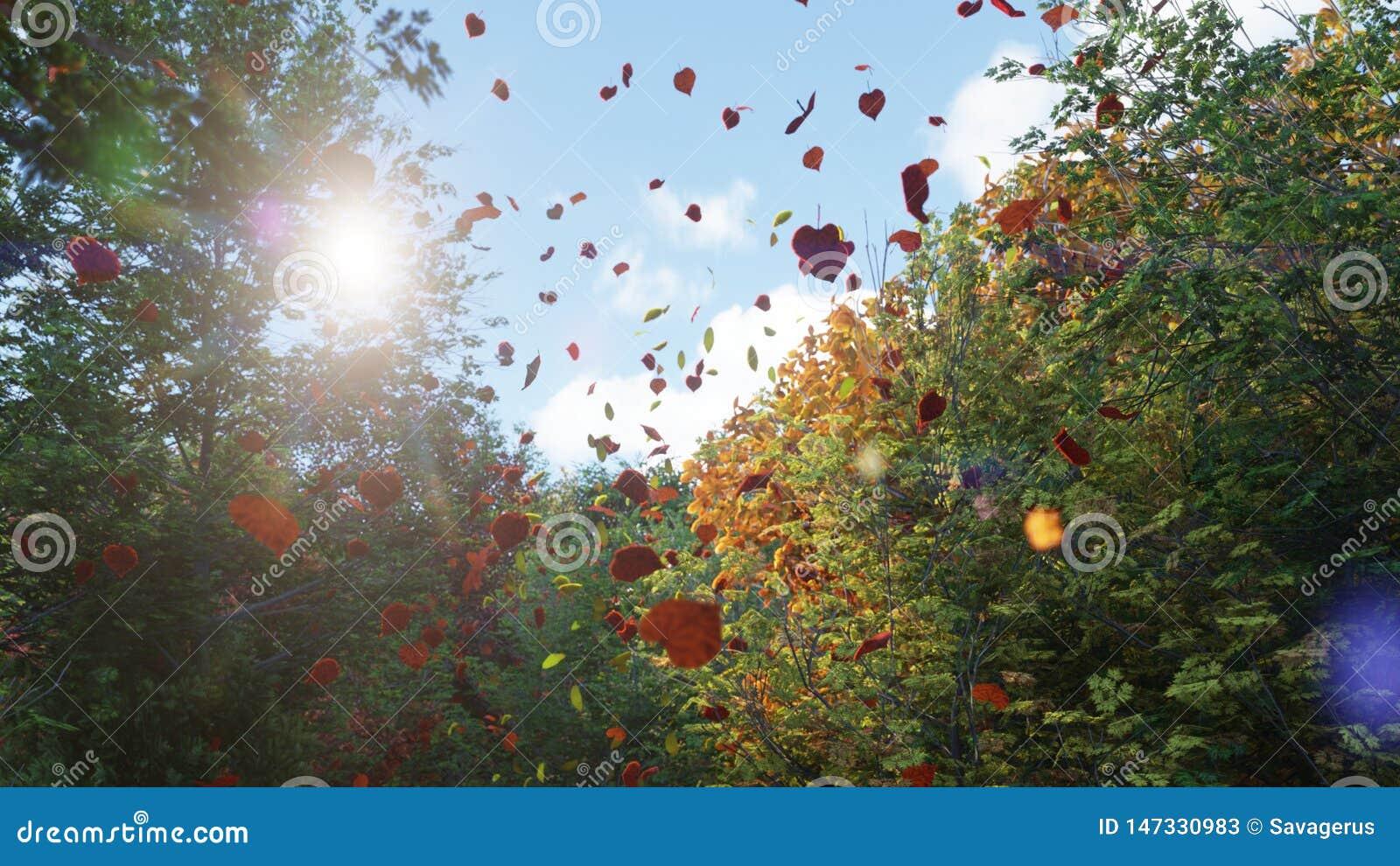 Chute de feuilles d automne des arbres en parc d automne Parc color? d automne un jour ensoleill? rendu 3d