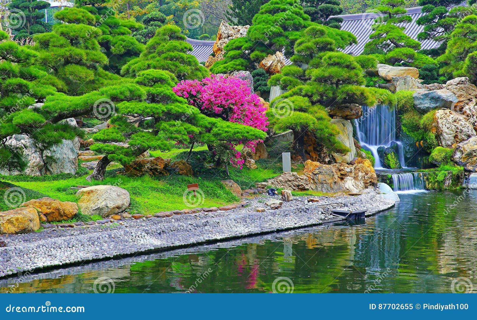 Chute de l eau dans le jardin chinois de zen