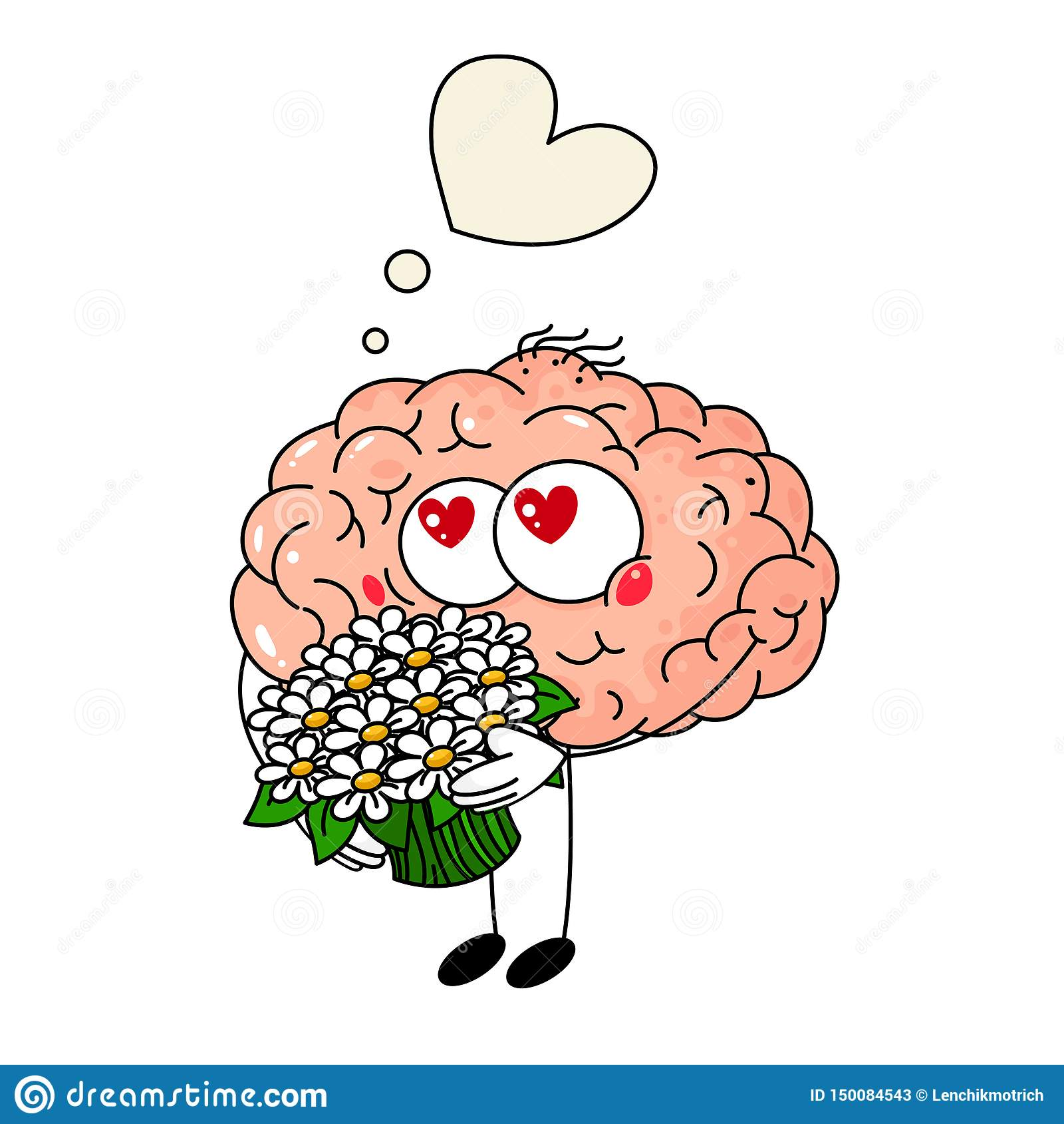 Chute mignonne d esprit humain dans l amour, avec le bouquet des fleurs sur le fond blanc
