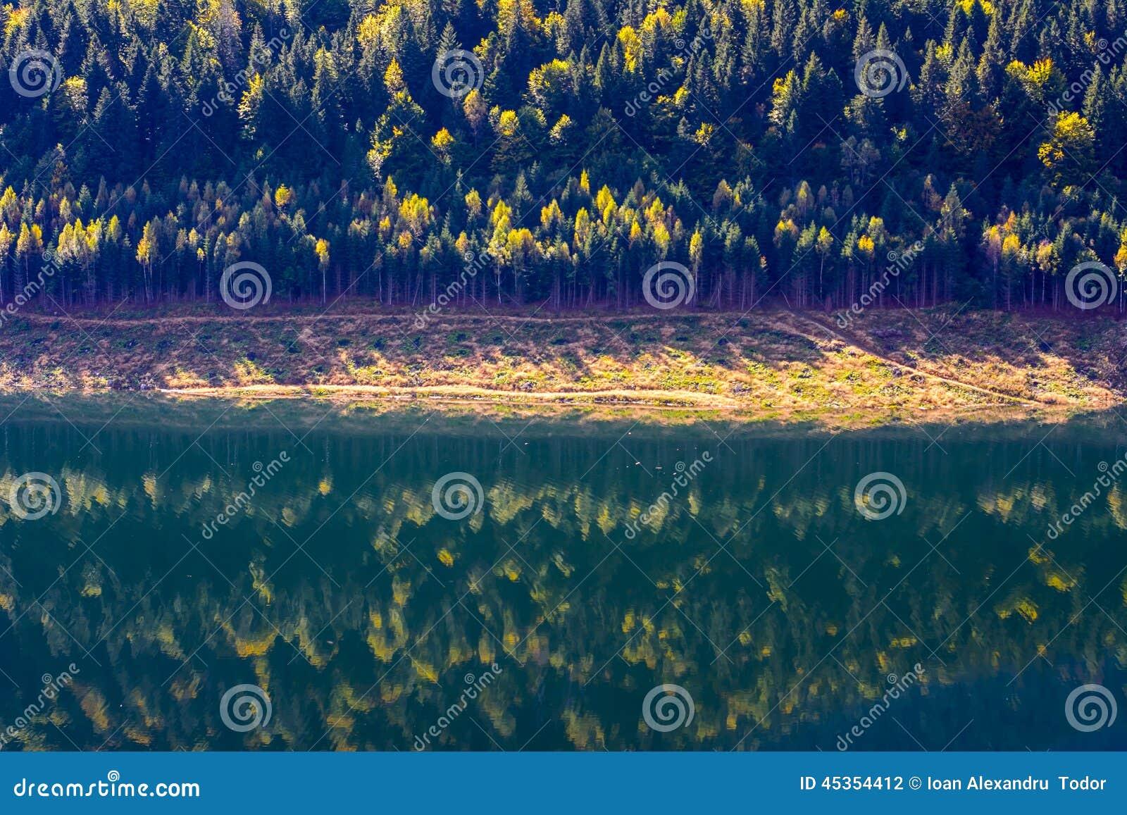 Chute sur le miroir de lac