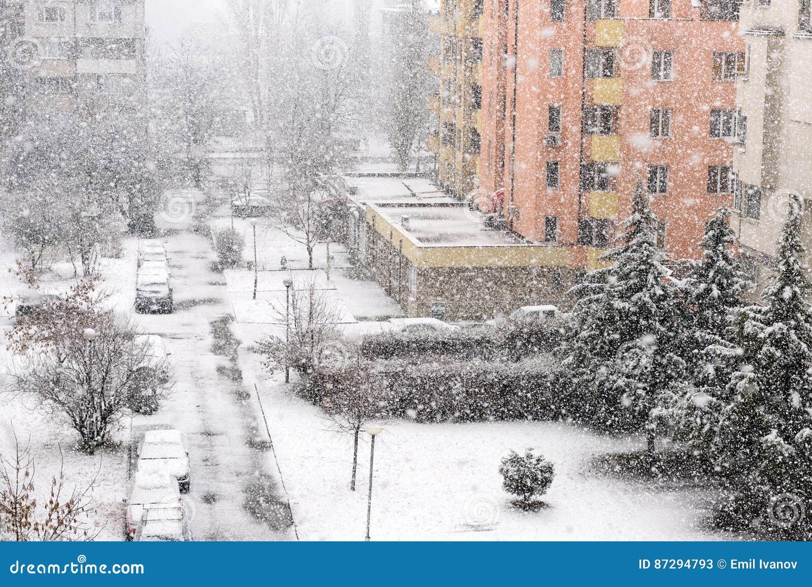 Chutes de neige lourdes ou tempête de neige