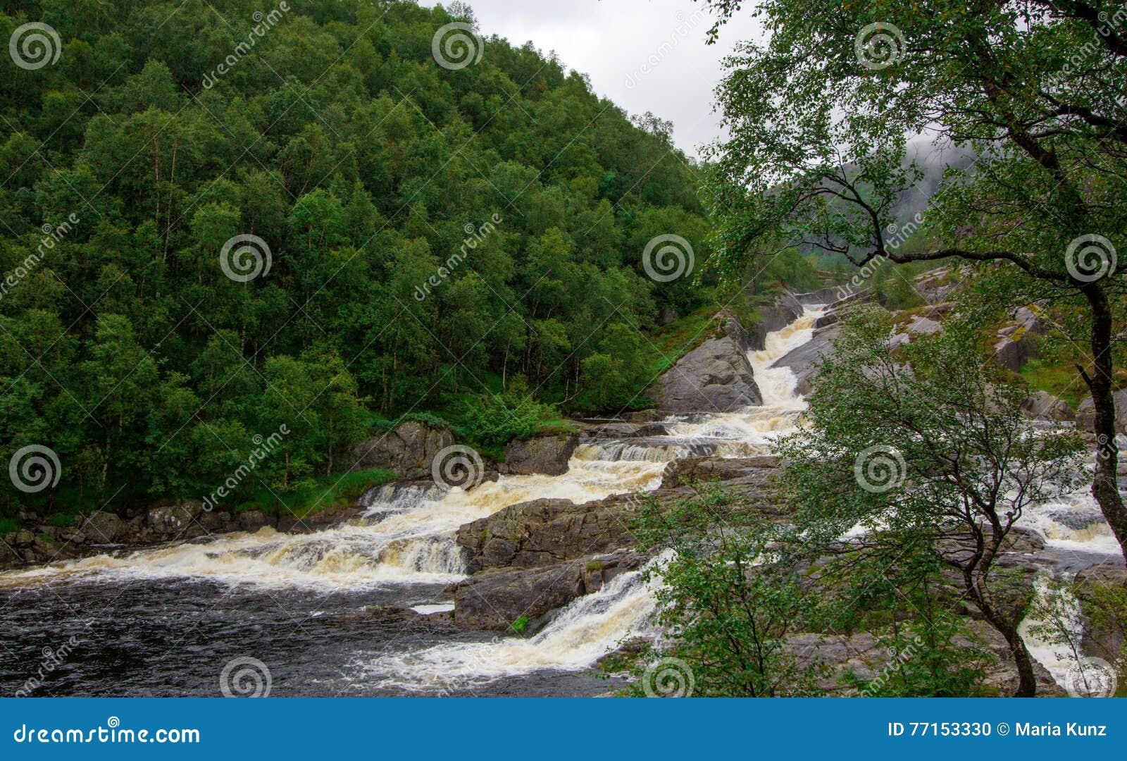 Chutes en montagnes de la Norvège par temps pluvieux