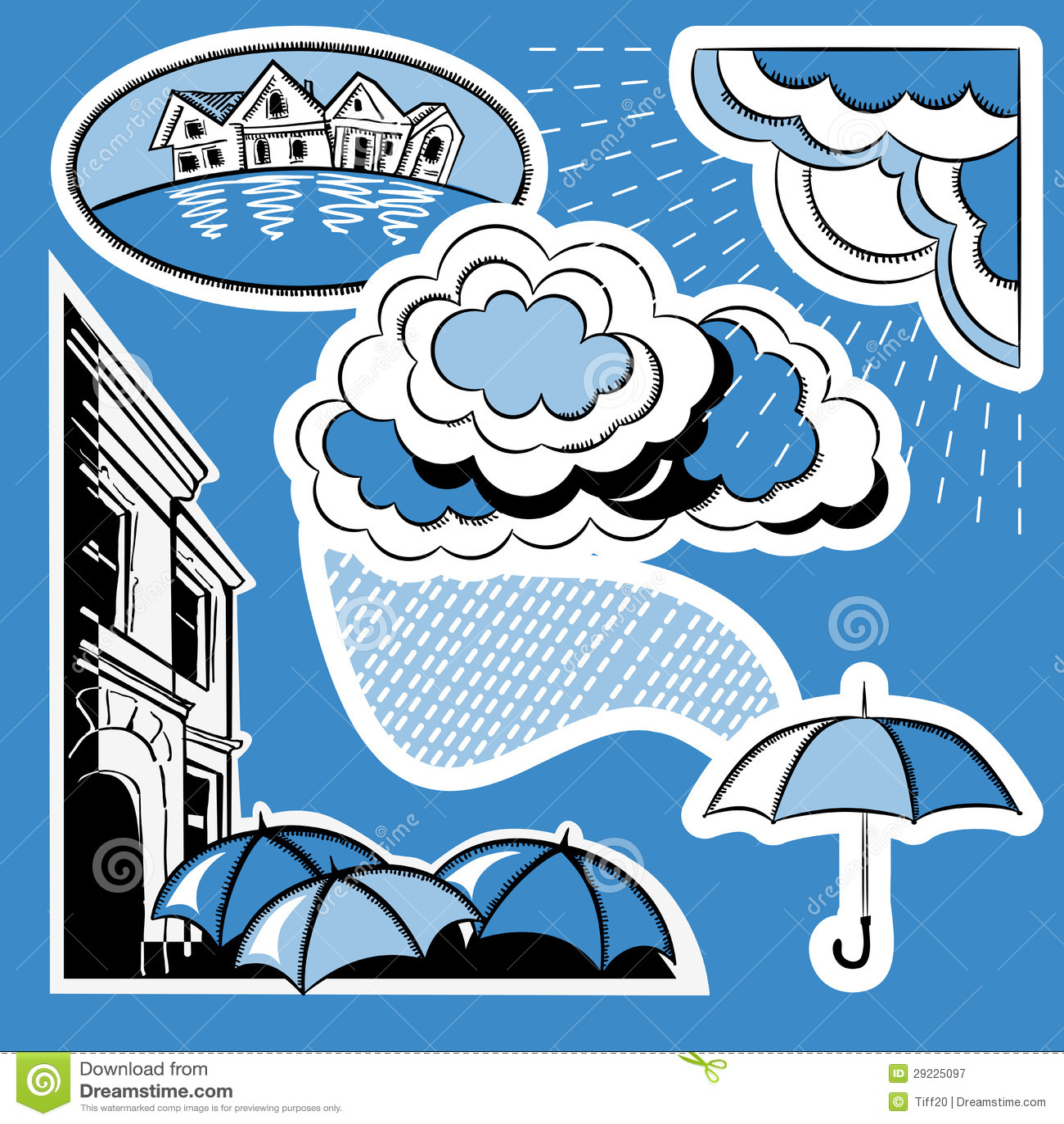 Download Chuva na cidade ilustração do vetor. Ilustração de desenho - 29225097