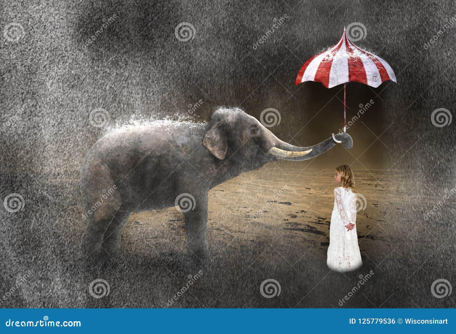 Chuva surreal, tempo, elefante, menina, tempestade
