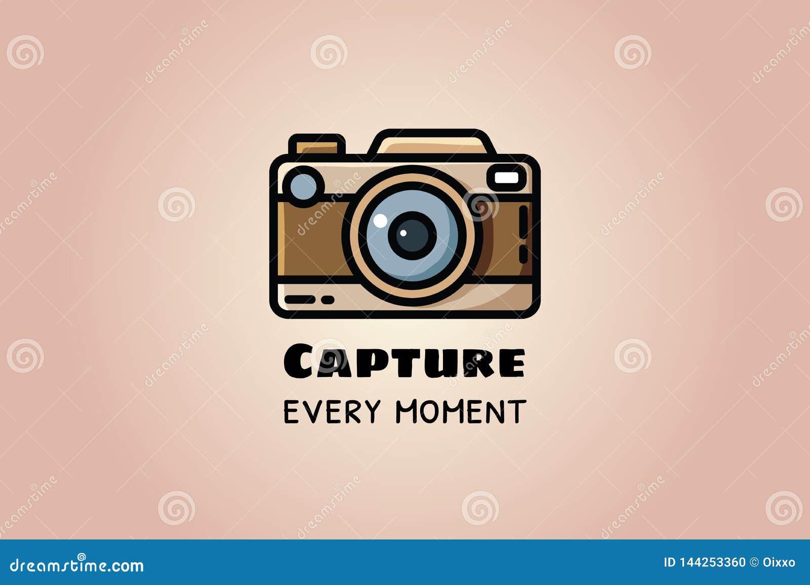 Chwyta każdy moment Rocznik kamera lub retro kamera, wektorowa płaska ilustracja
