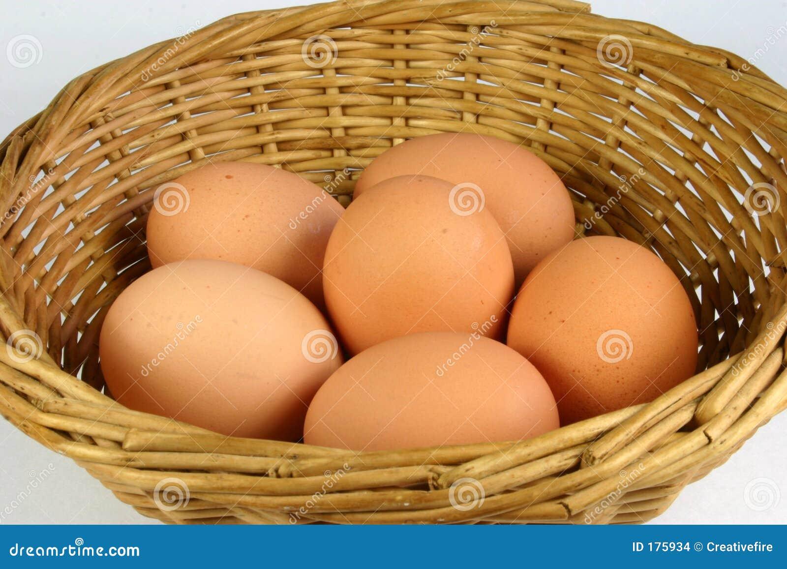 Ciérrese encima de cesta del huevo