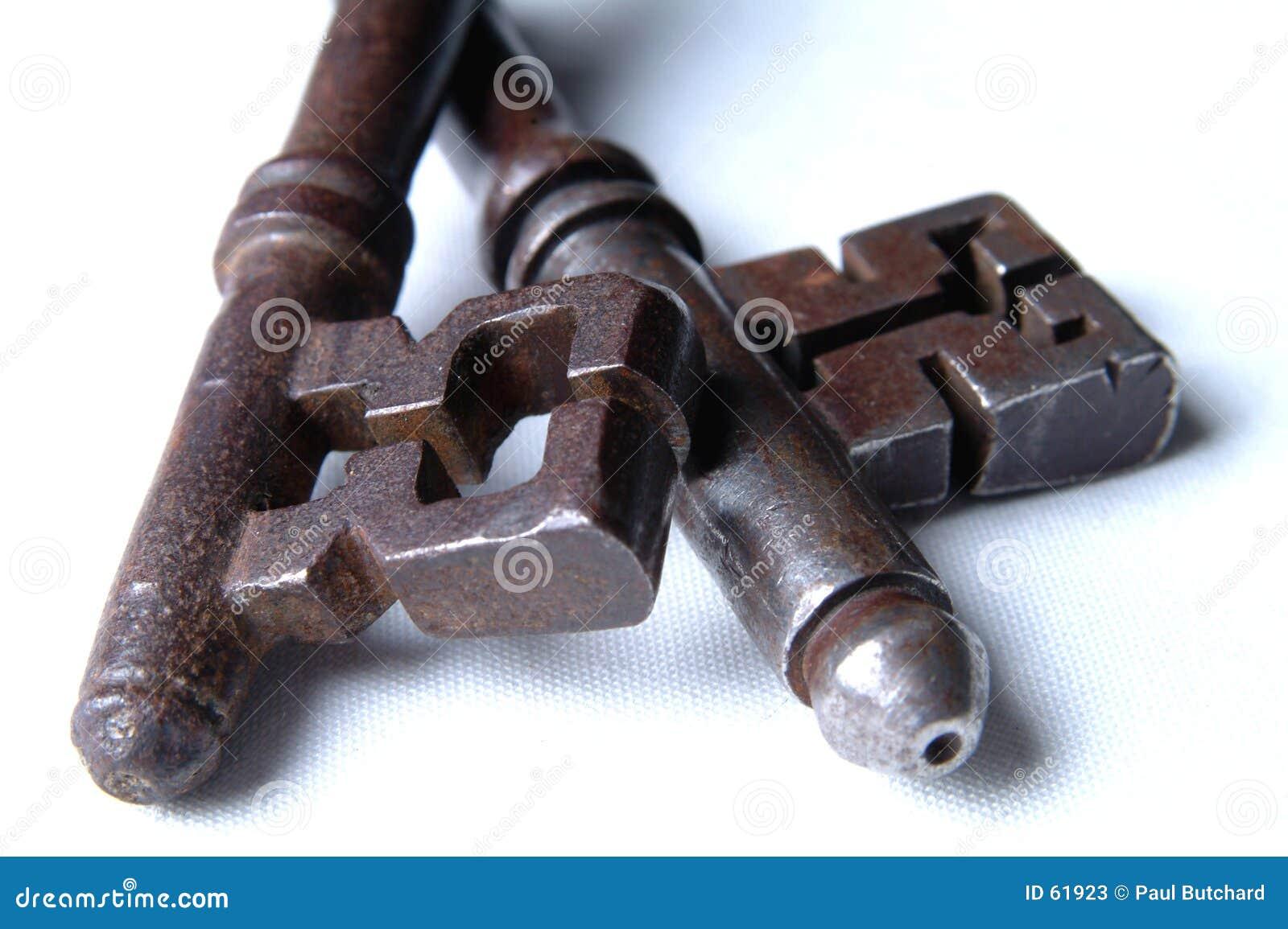 Ciérrese para arriba de 2 claves antiguos