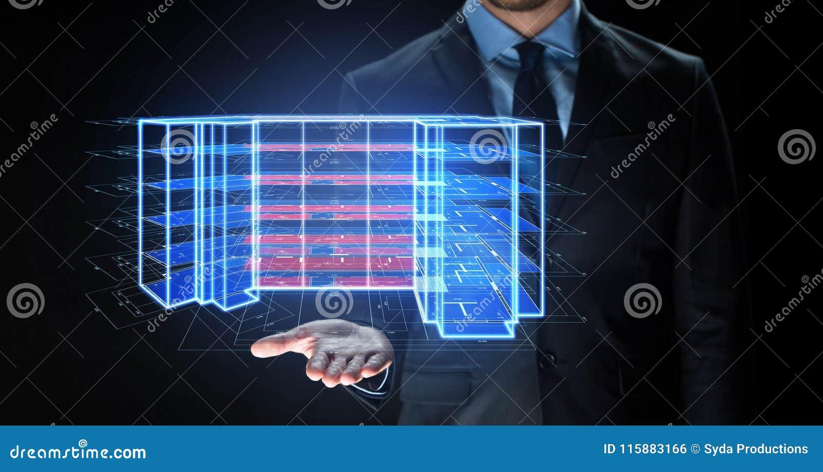 Ciérrese para arriba de hombre de negocios con la proyección virtual