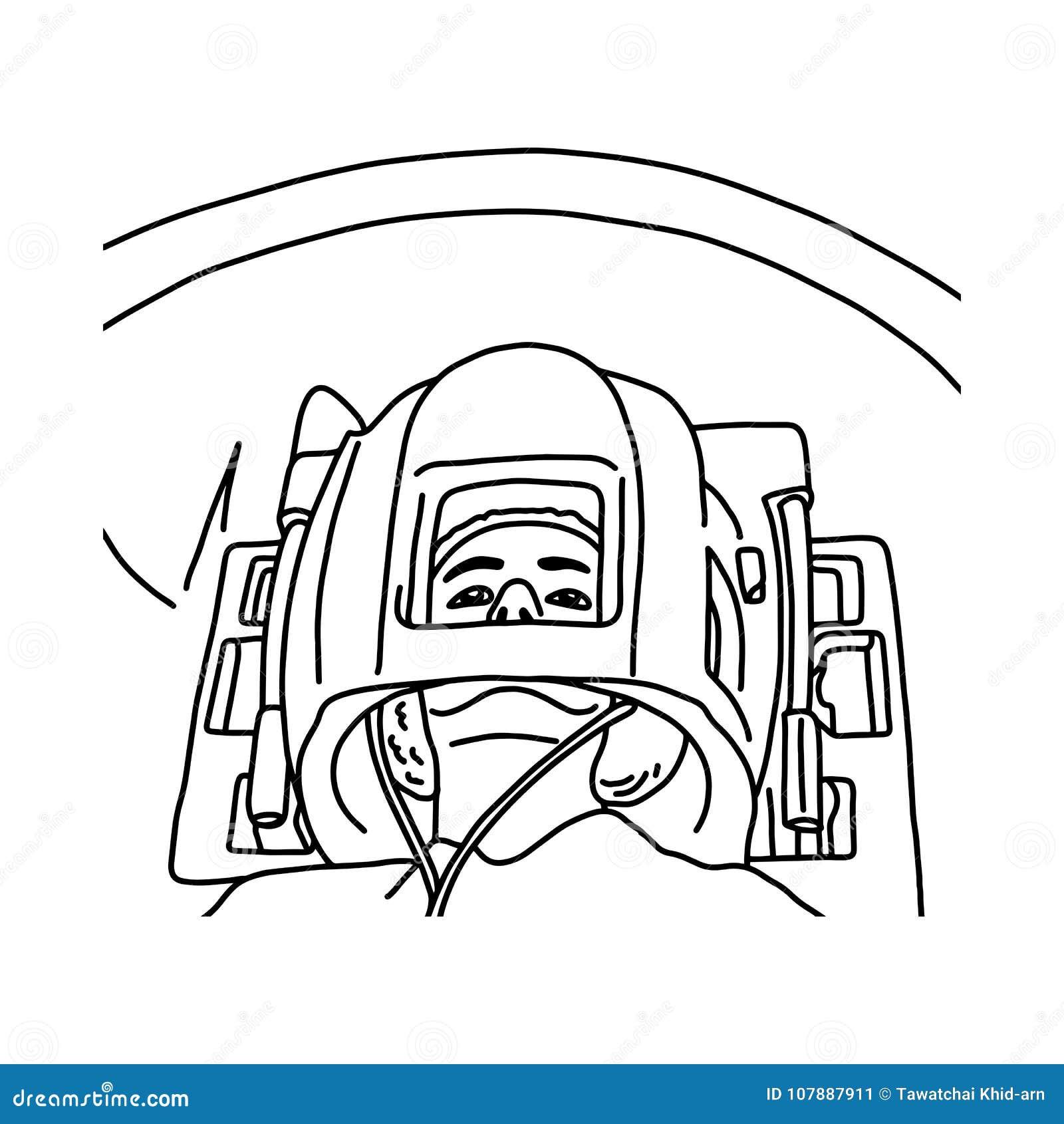 Ciérrese para arriba de la cabeza paciente en sket del ejemplo del vector del escáner de MRI