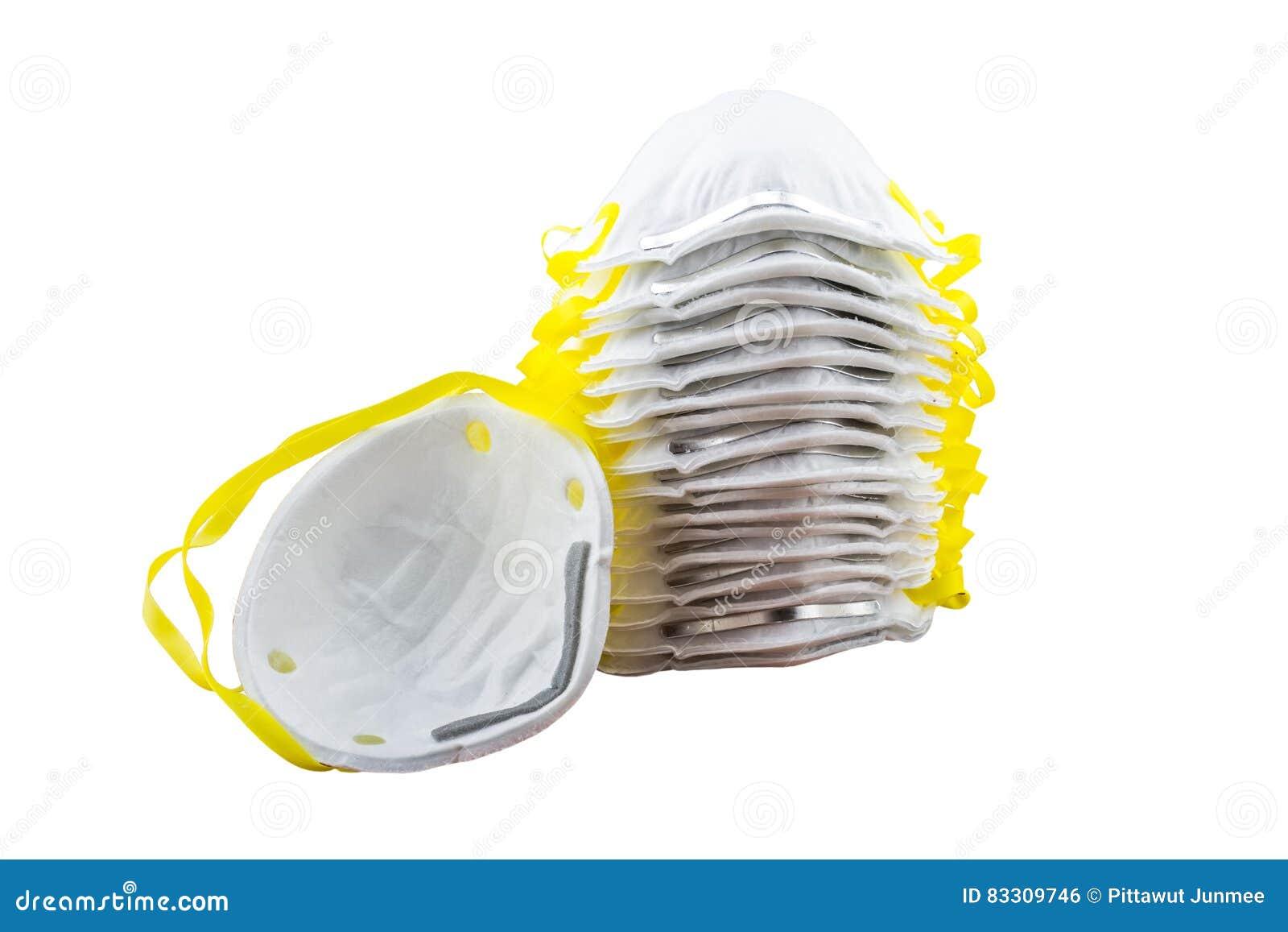 Ciérrese para arriba de la máscara blanca aislada en el fondo blanco Ahorrado con c