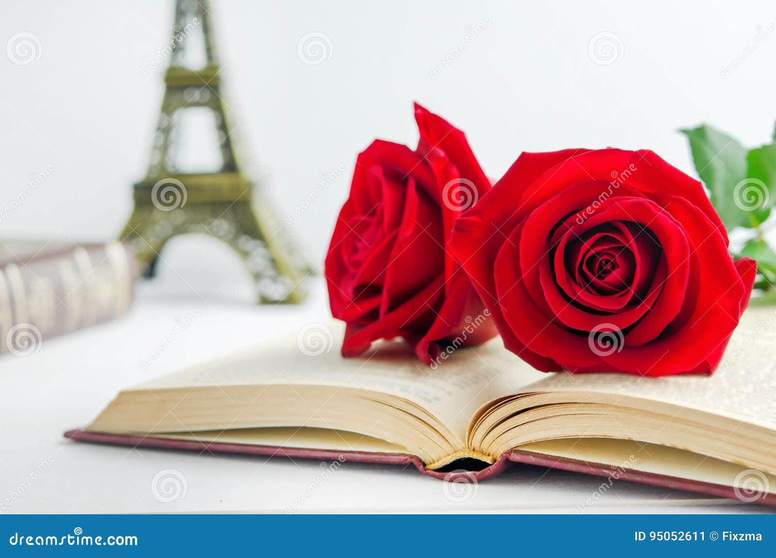 Ci rrese para arriba de las flores de la rosa del rojo en el libro viejo abierto con tonelada del vintage foto de archivo imagen 95052611