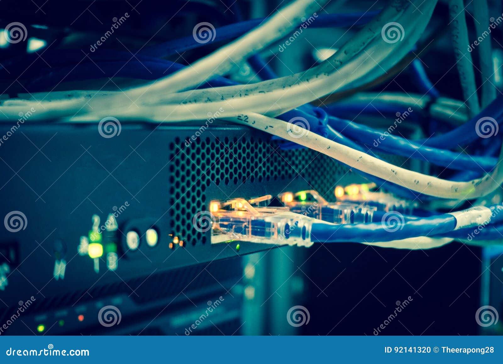 Ciérrese para arriba de los cables de Internet de la red, cordones de remiendo conectados