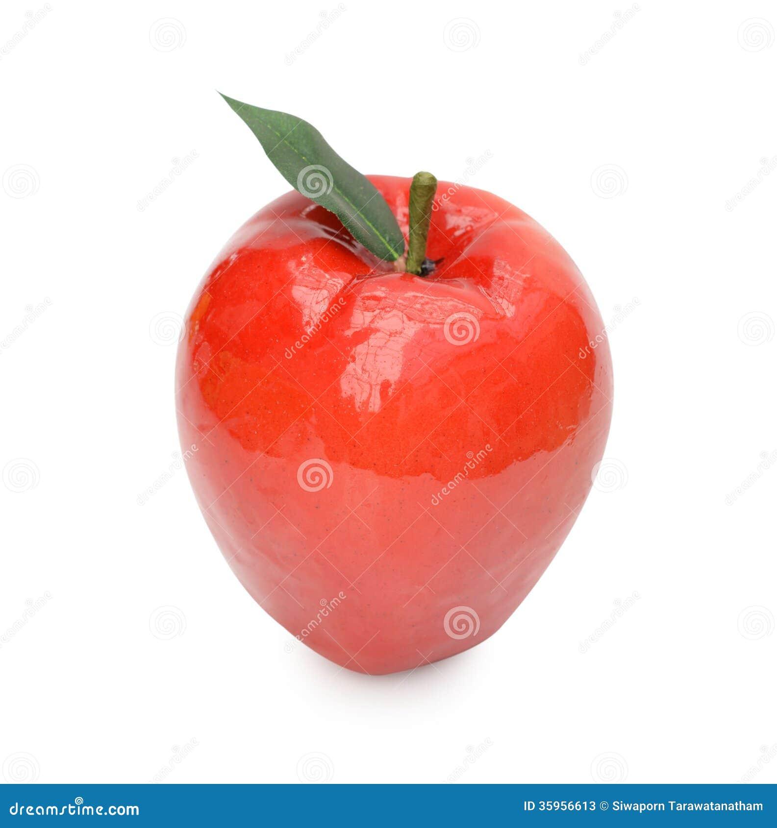 Ciérrese para arriba de manzana artificial Aislado en un backgropund blanco
