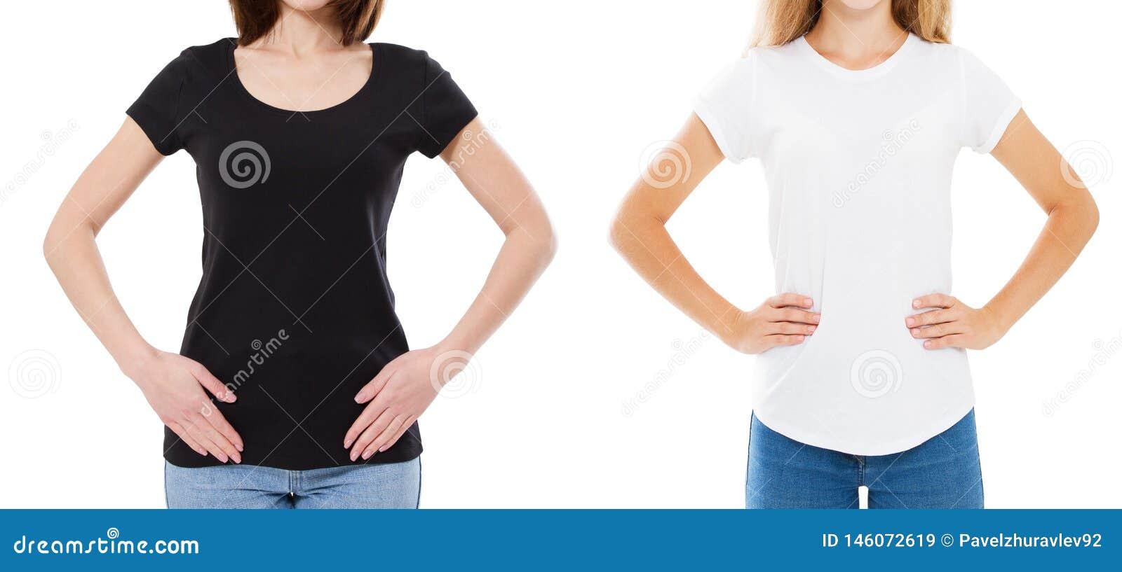 Ciérrese para arriba de mujer en camiseta blanco y negro en blanco Falso para arriba de la camiseta aislada en blanco Muchacha en