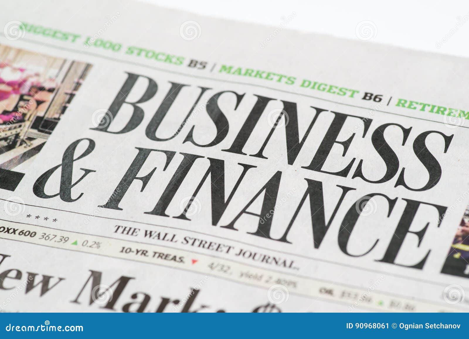 Ciérrese para arriba de un negocio y financie la sección del uso editorial de Wall Street Journalfor solamente