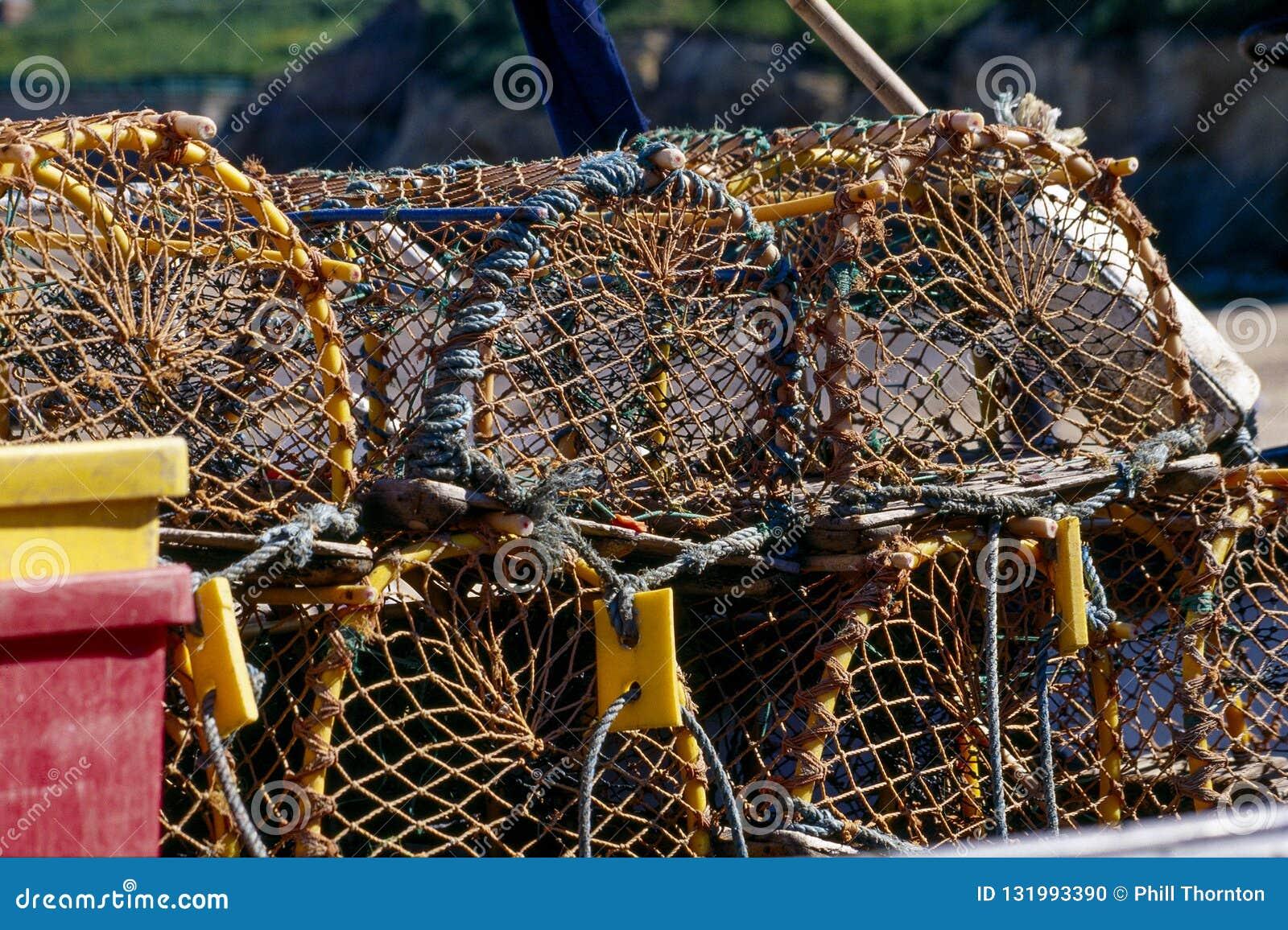 Ciérrese para arriba de una pila de potes de langosta