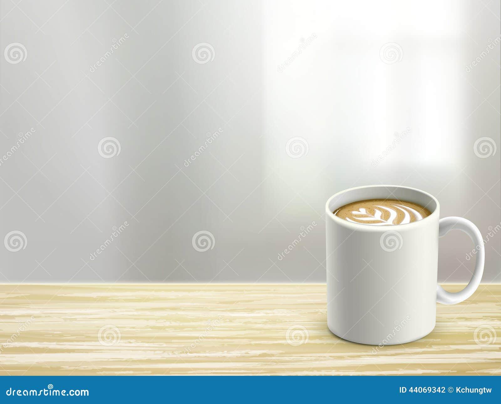 Ciérrese para arriba del escritorio y del café de madera en sitio